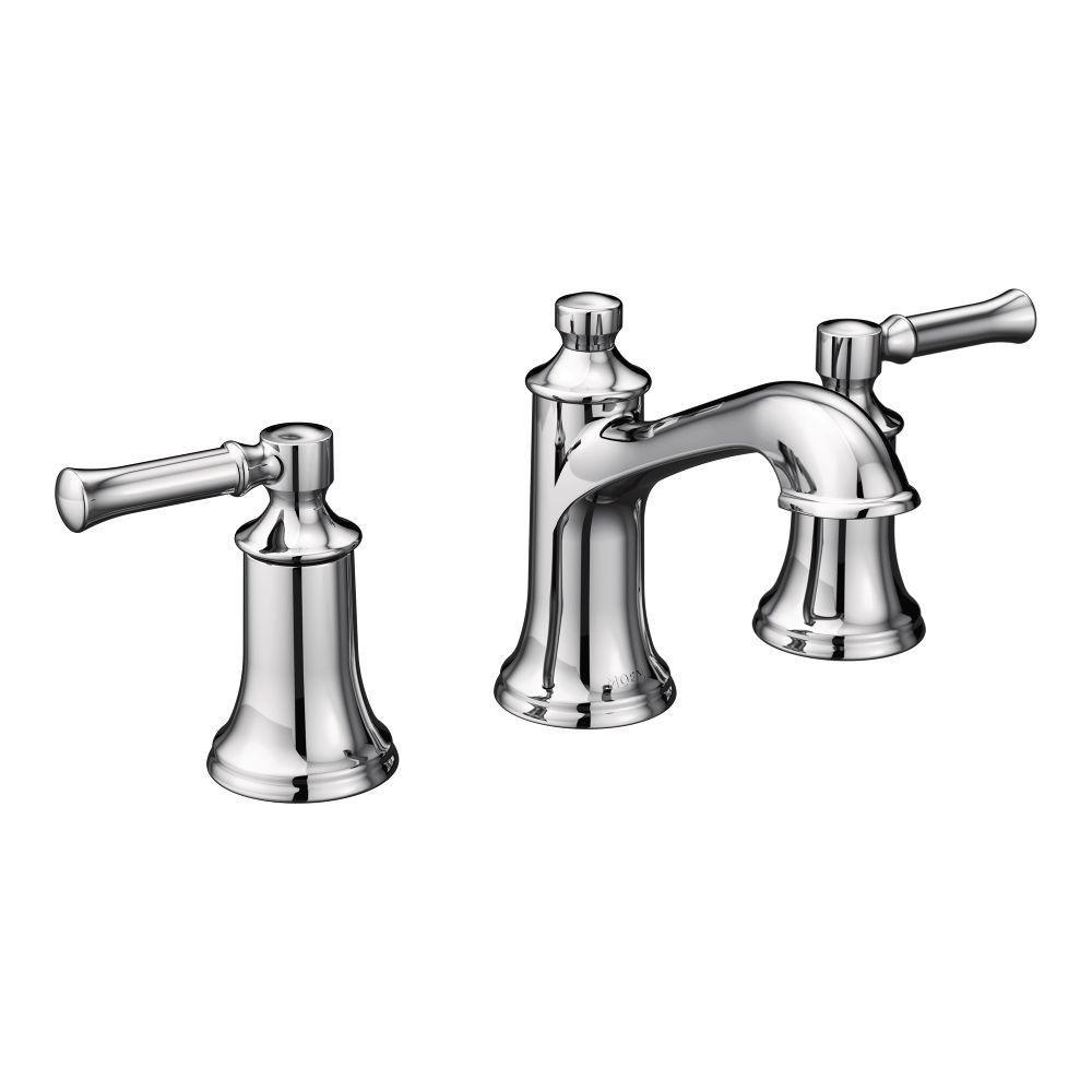 moen dartmoor 8 in. widespread 2-handle bathroom faucet in chrome