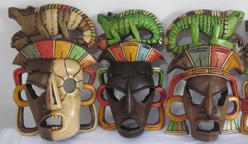 Mascaras Mayas De Madera Artesanía Maya Yucatán México Arte Y