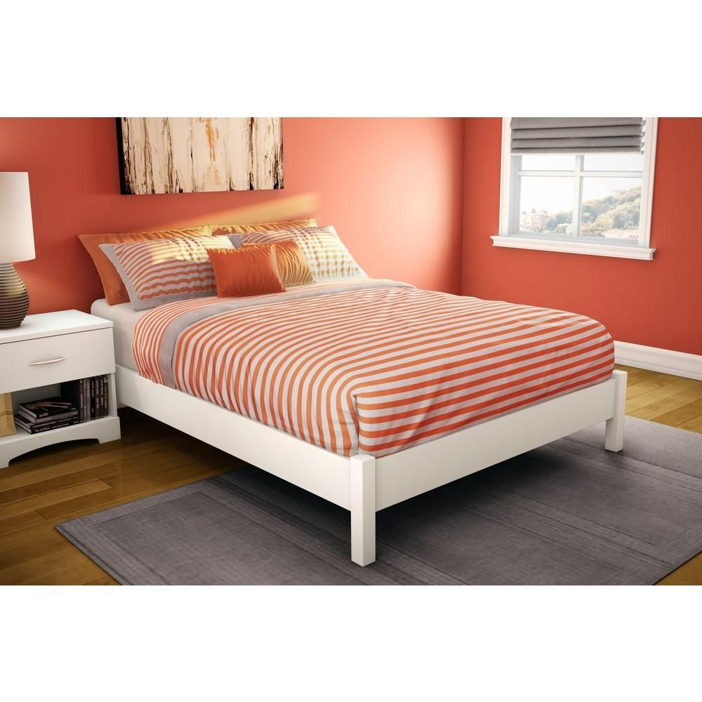 South S Furniture Bedtime Story Full Size Elevated Platform Bed In Pure White 3050204 The Home Depot
