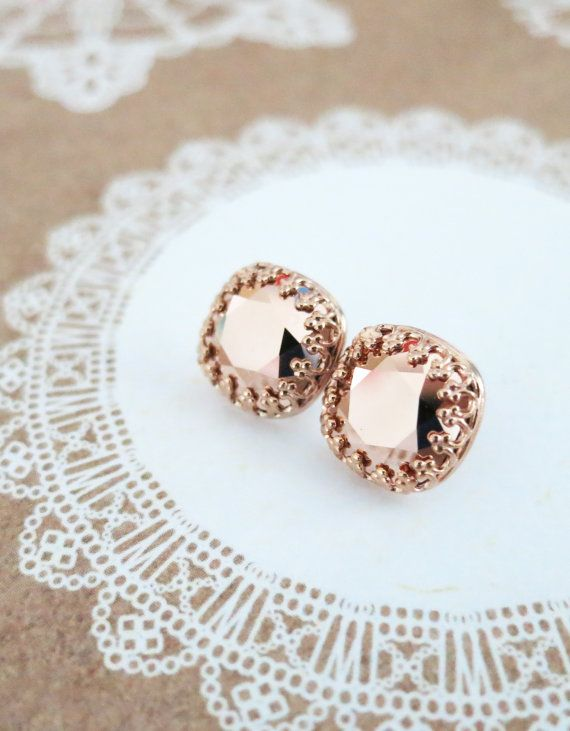 a95ca7f61 CRYSTALLIZED™ Swarovski® Elements crystals: Rose Gold Swarovski Cushion  Crystal. Delicate Victorian style rose gold plated crown post earring  settings.