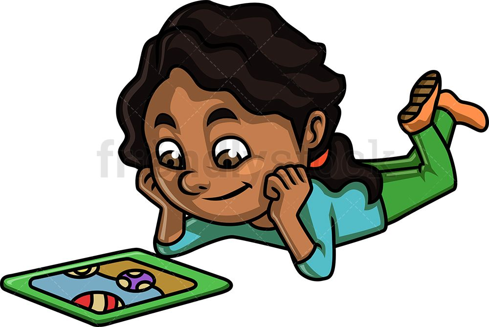 Black Girl Watching Video On A Tablet With Images Cartoon Clip
