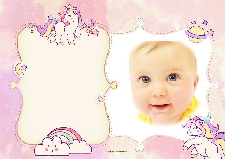 Fotomontaje Infantil Con Unicornios Tarjetas De Unicornio