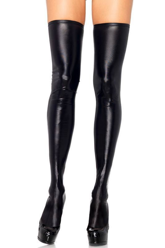 c4e5616b37a54 Extra Long Black Liquid Wet Look Faux Leather Thigh High Socks One Size  #StyleCreek #ThighHighs