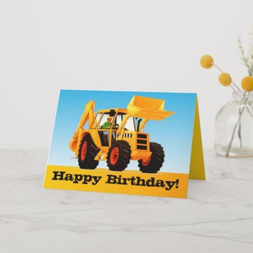 Kids Trucks Custom Yellow Digger Happy Birthday Card Zazzle Com Happy Birthday Cards Construction Theme Birthday Party Construction Birthday