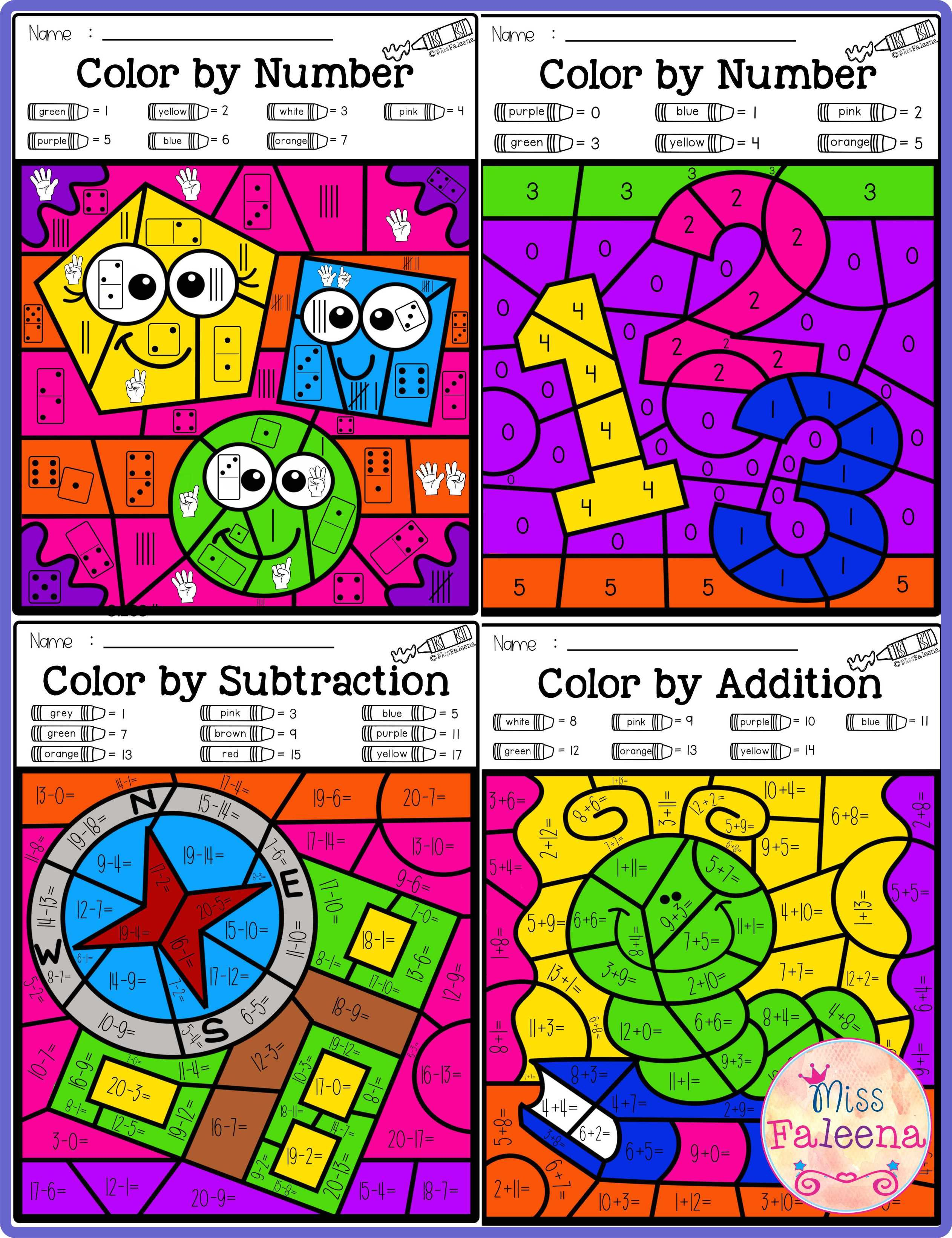There Are 20 Pages Of Color By Math Worksheets In This Product These Pages Are Fun And Effective Way To Learn Number Counting Addition And Subtraction Pre Adding and subtracting color by number
