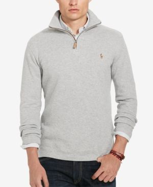 e80cde77 Polo Ralph Lauren Men's Estate Rib Half Zip Sweater - Andover Grey ...