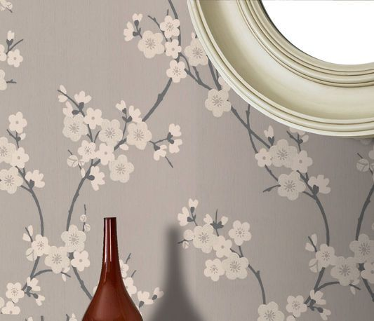 Cherry Blossom Taupe And Charcoal Wallpaper Cherry Blossom Wallpaper Charcoal Wallpaper Grey Wallpaper