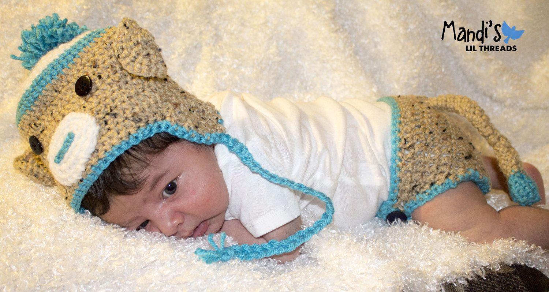 Boys Sock Monkey -Newborn Baby Photo Prop hat and diaper set-. $14.00, via Etsy.
