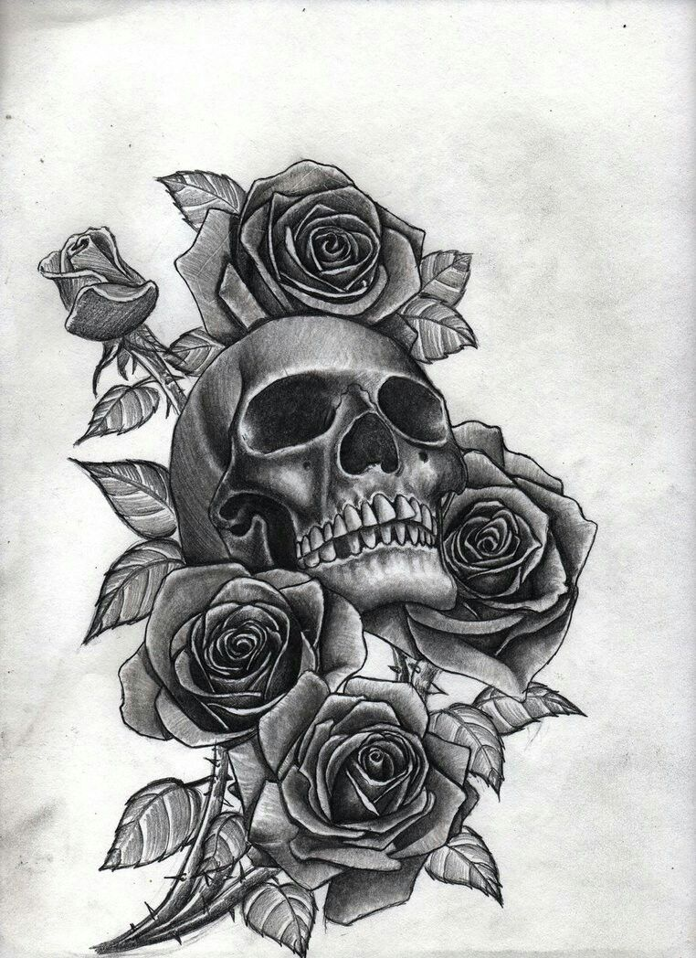 skull with roses tattoo 39 s pinterest skelett. Black Bedroom Furniture Sets. Home Design Ideas