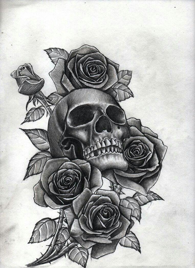 Rose And Skull Tattoo : skull, tattoo, Skull, Roses, Tattoo, Sleeve, Designs,, Tattoos,, Small, Pretty, Tattoos