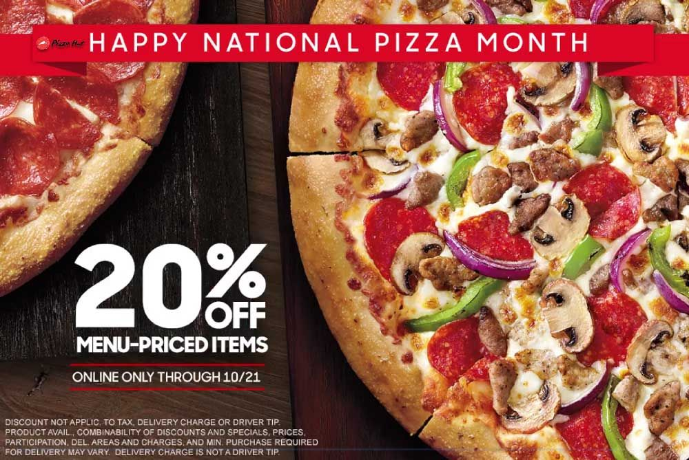 Pinned October 16th 20 Off Online At Pizzahut Via Promo Code Pizzamonth20off Thecouponsapp Pizza Hut National Pizza Month Pizza Hut Coupon