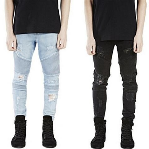 a4430f78 Runway Rider Mens Skinny Slim Fit Motorcycle Washed Vintage Ripped Washed  Hip Hop Elastic Denim Pants