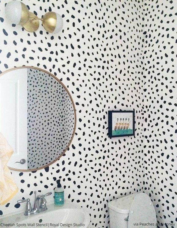 Cheetah Spots Wall Stencil Stencils wall, Spotted