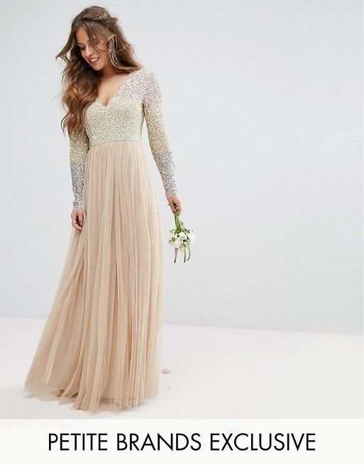 41317568a82 Maya Petite Long Sleeve V Neck Tulle Maxi Dress With Multi Color ...