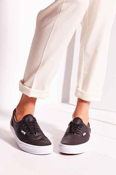 9cdcef80f56e Vans Era Premium Leather Women s Sneaker Black White Gold