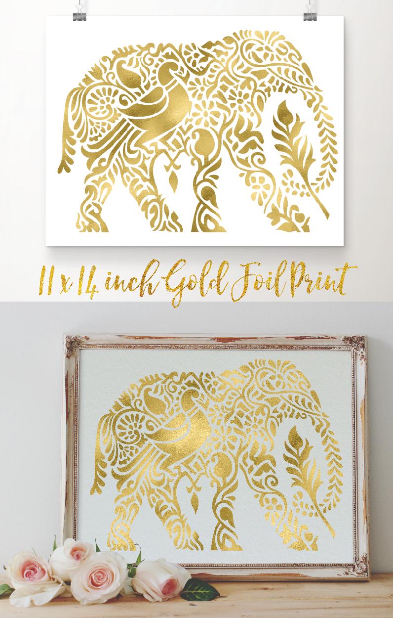 11x14 inch Elephant gold foil art print. Unique real gold foil ...