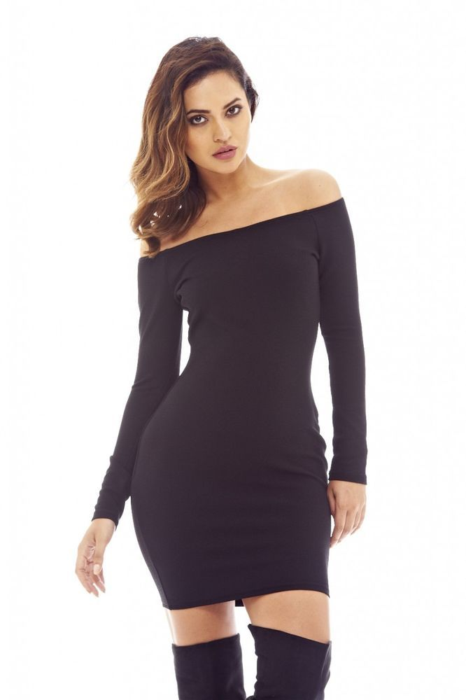 AX Paris Off the Shoulder Asymmetric Hem Dress   Hem dress