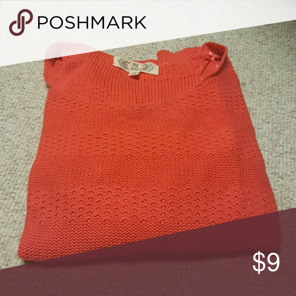 Coral Sweater Three quarter length sleeves. Loose comfy fit. Pink Rose Sweaters Crew & Scoop Necks