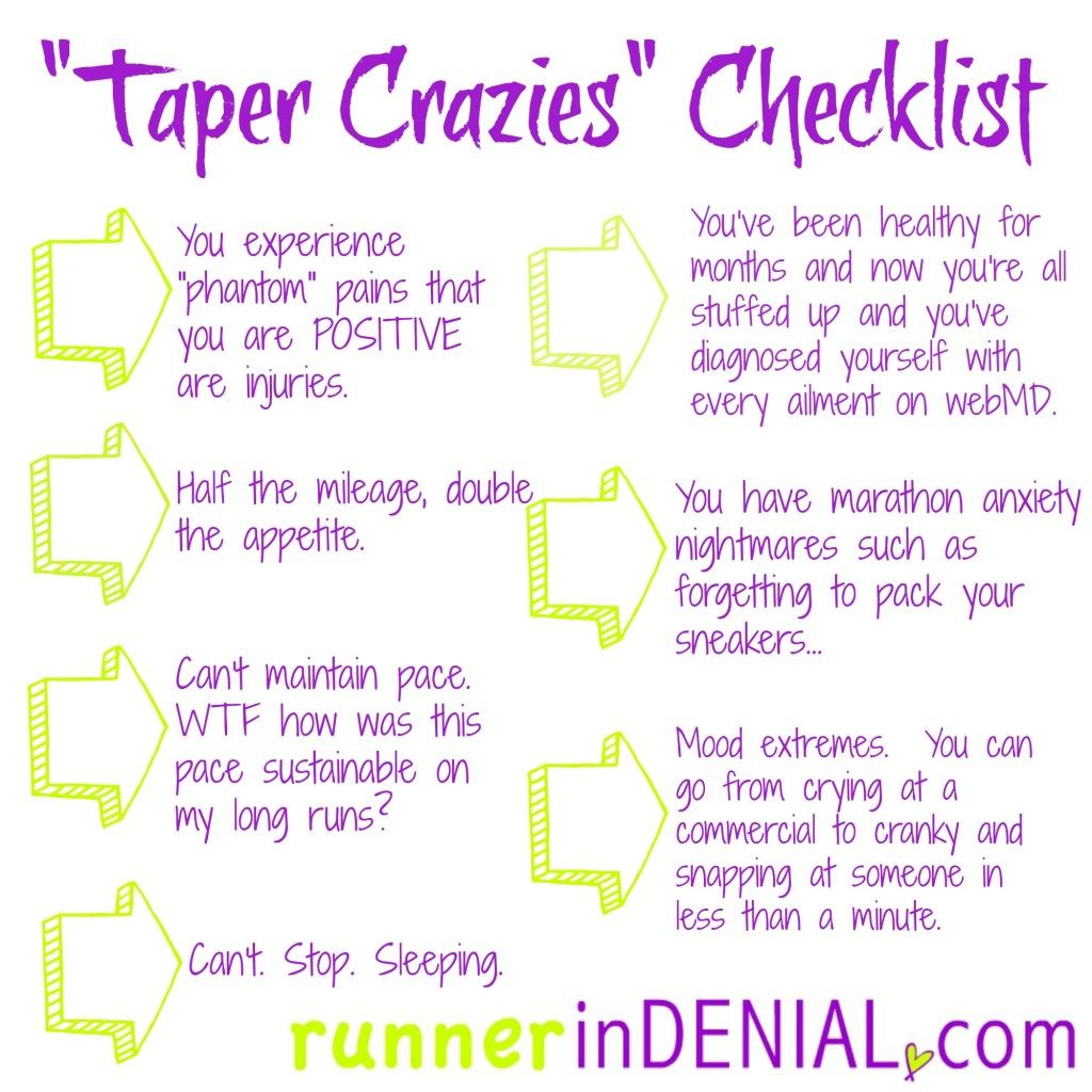 a7da760f9771 signs you ve got the taper crazies. marathon tapering at it s finest ...