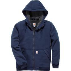 Photo of Carhartt Sherpa-gefüttertes mittelschweres Sweatshirt mit durchgehendem Reißverschluss Blau L Carhartt