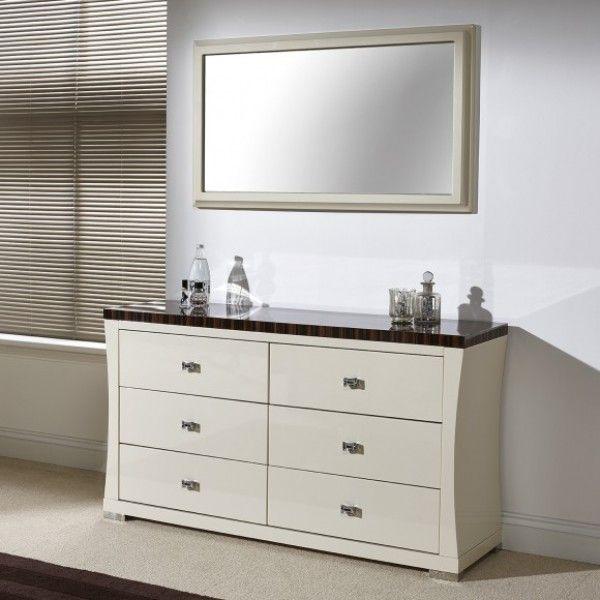 Lorenza Dresser Mirror A Wonderful Ivory Colour High Gloss Dressing Table With Walnut Grain Top Panel Beautiful Polish Finish