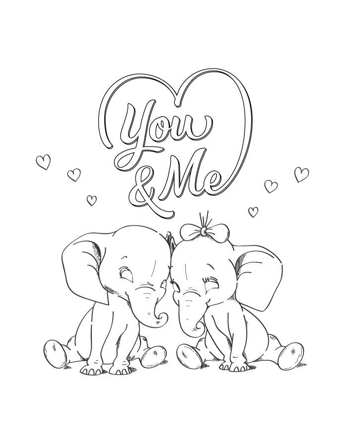 You and me st Valentin coloriage a imprimer | Dessin de st ...