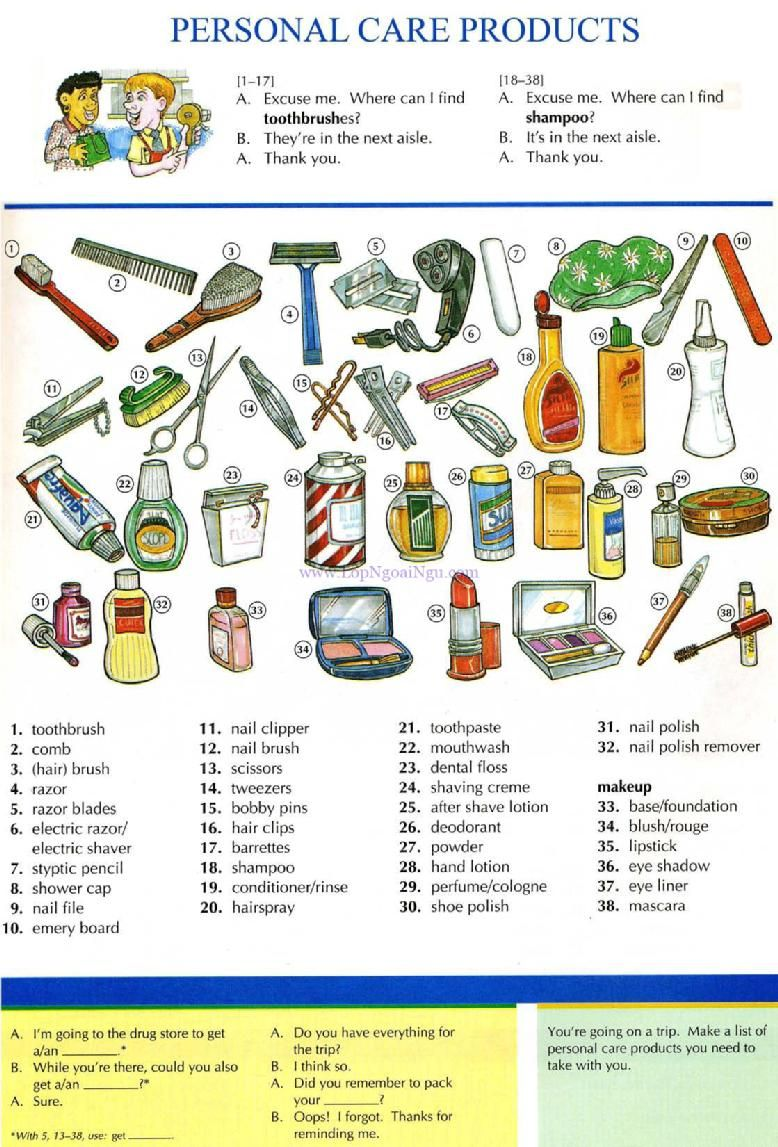 19 - PERSONAL CARE PRODUCTS - Pictures dictionary ...