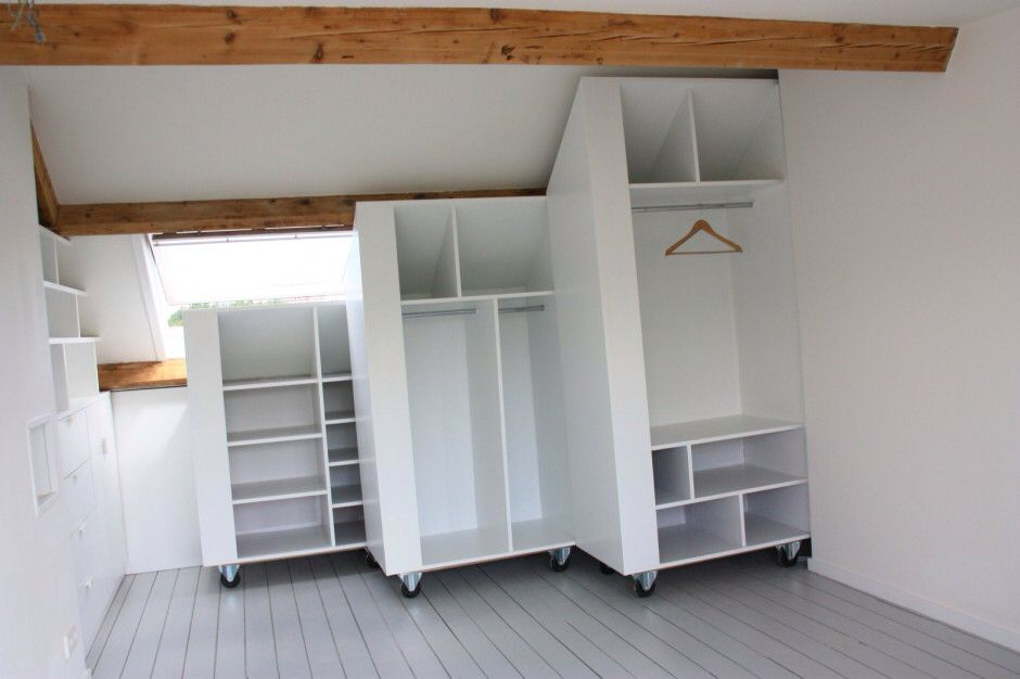 cool and clever way to save spae in a attic a white closet on weels which fits exactily the. Black Bedroom Furniture Sets. Home Design Ideas