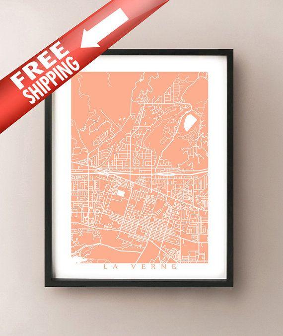 La Verne Map California Poster Print Usa Pinterest