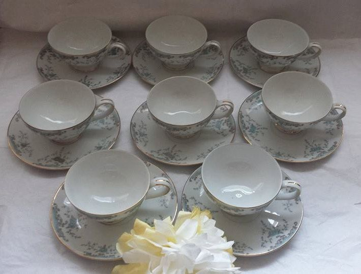 **SOLD**$8 (each)  8 Sets Available Vintage Imperial China Seville W. Dalton Footed Tea Cup and Saucer (8) Sets Available Blue Roses Grey Scrolls Gold Trim 1960s by JunkYardBlonde on Etsy