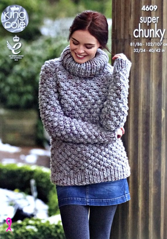 543fa4c711bc Womens Knitting Pattern K4609 Ladies Long Sleeve Polo Neck ...