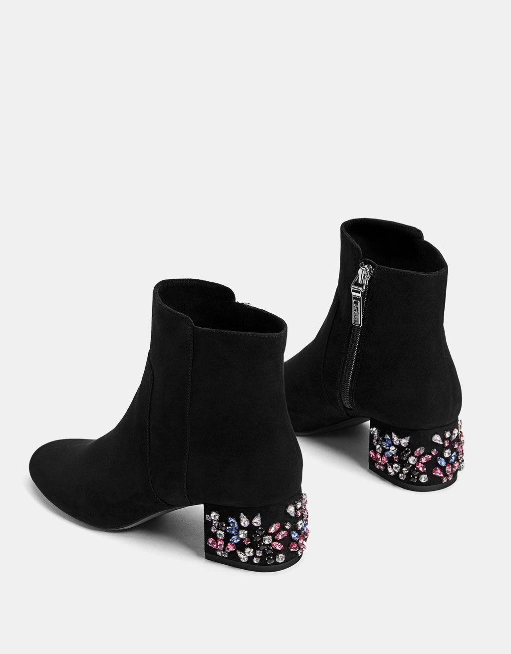 Bejewelled mid heel ankle boots | Sko, Tøj og Smykker