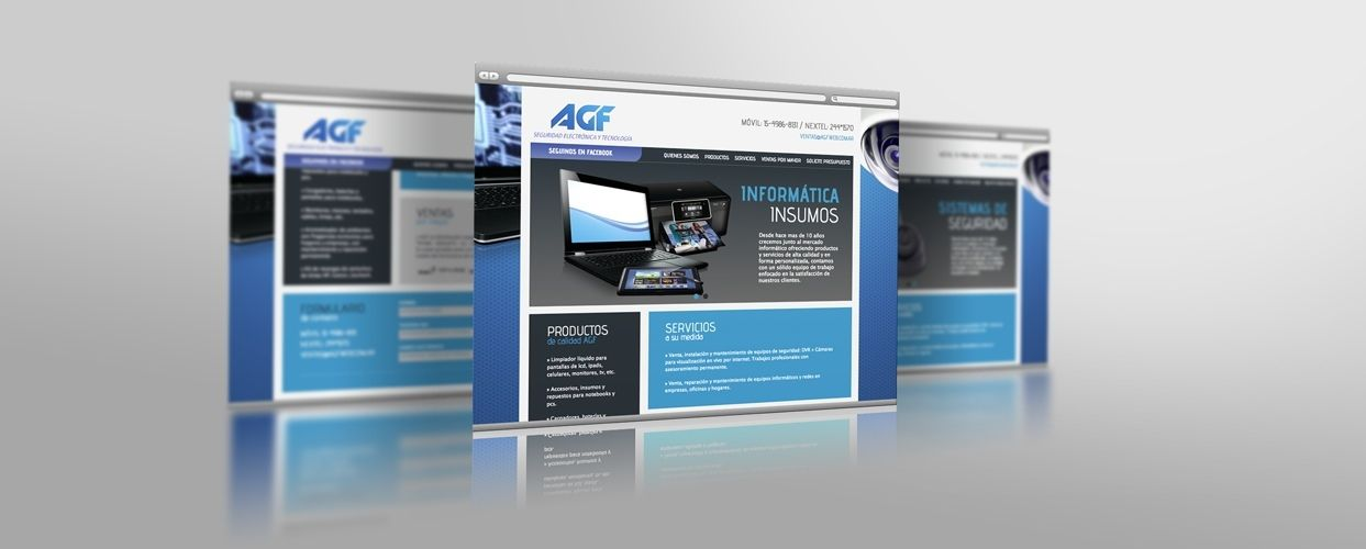Parte de los últimos trabajos: Diseño y Desarrollo Web para AGF- Seguridad Electrónica e Informática. www.agfweb.com.ar