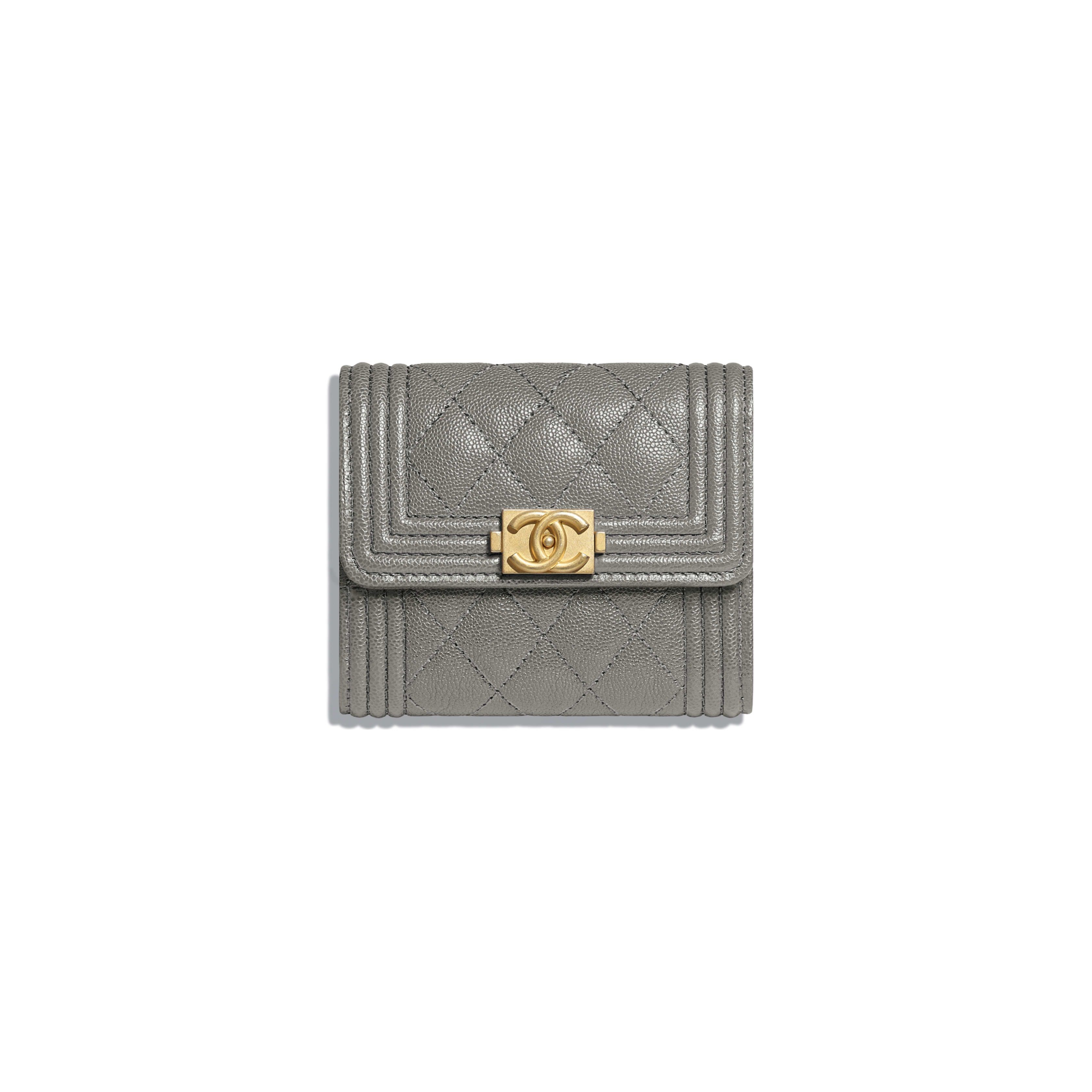 e500a6c5df07 BOY CHANEL Small Flap Wallet - Gray - Grained Calfskin & Gold-Tone Metal -  Default view - see full sized version