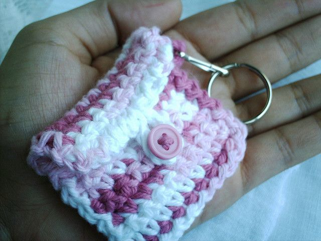 strawberry crochet keychain fob by Cottonseed, via Flickr