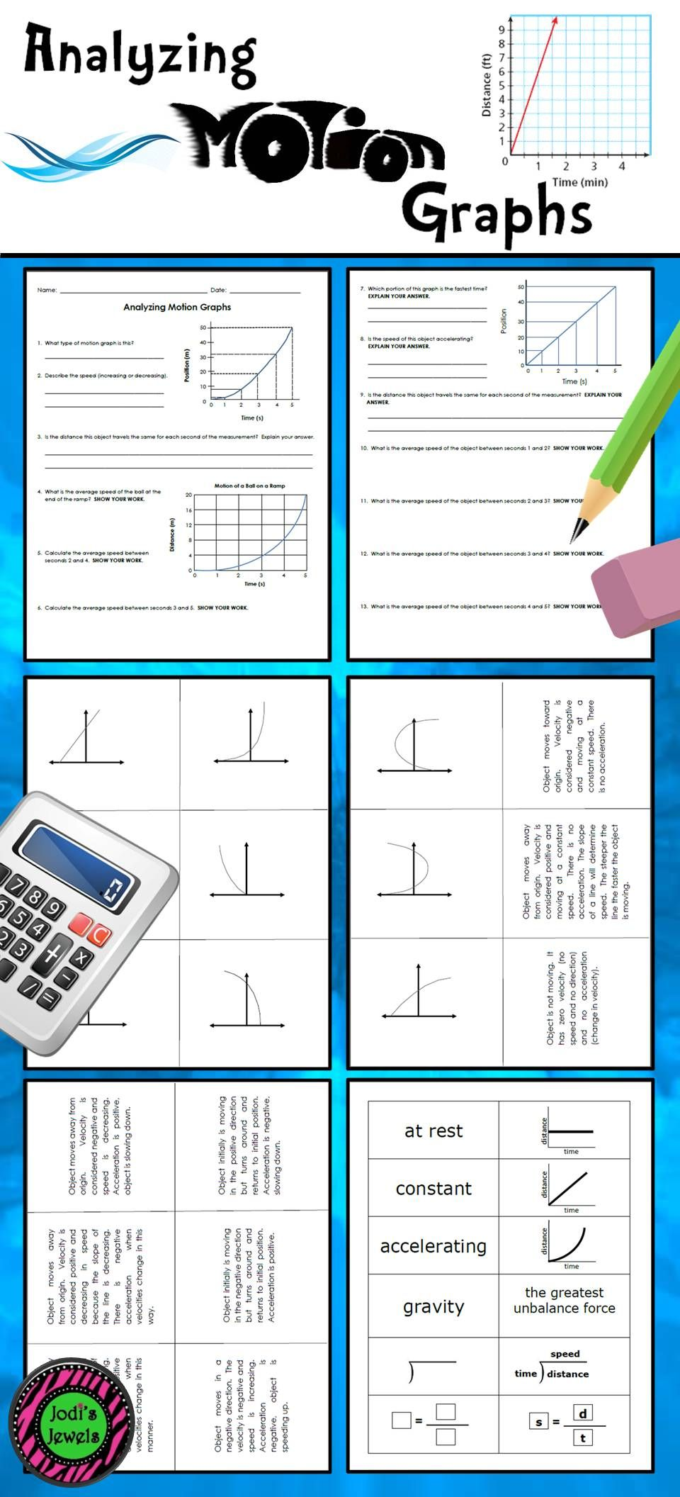 Students Will Practice Their Knowledge Of Motion Graphs With These Force And Motion Activities Created Wi Teaching Science Middle School Science Motion Graphs