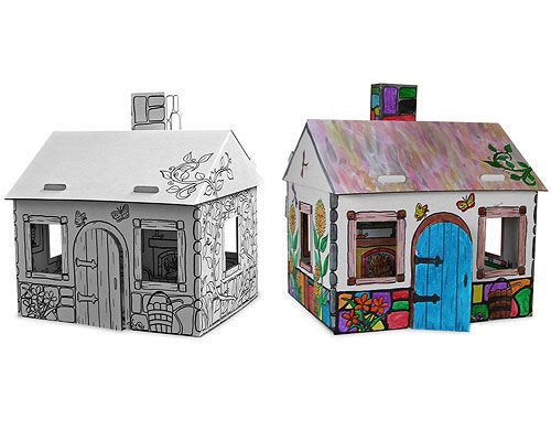 Cardboard Box Turned Playhouse Mod Podged With Coloring Book Pages Play House Diy Projects Crafts For Kids
