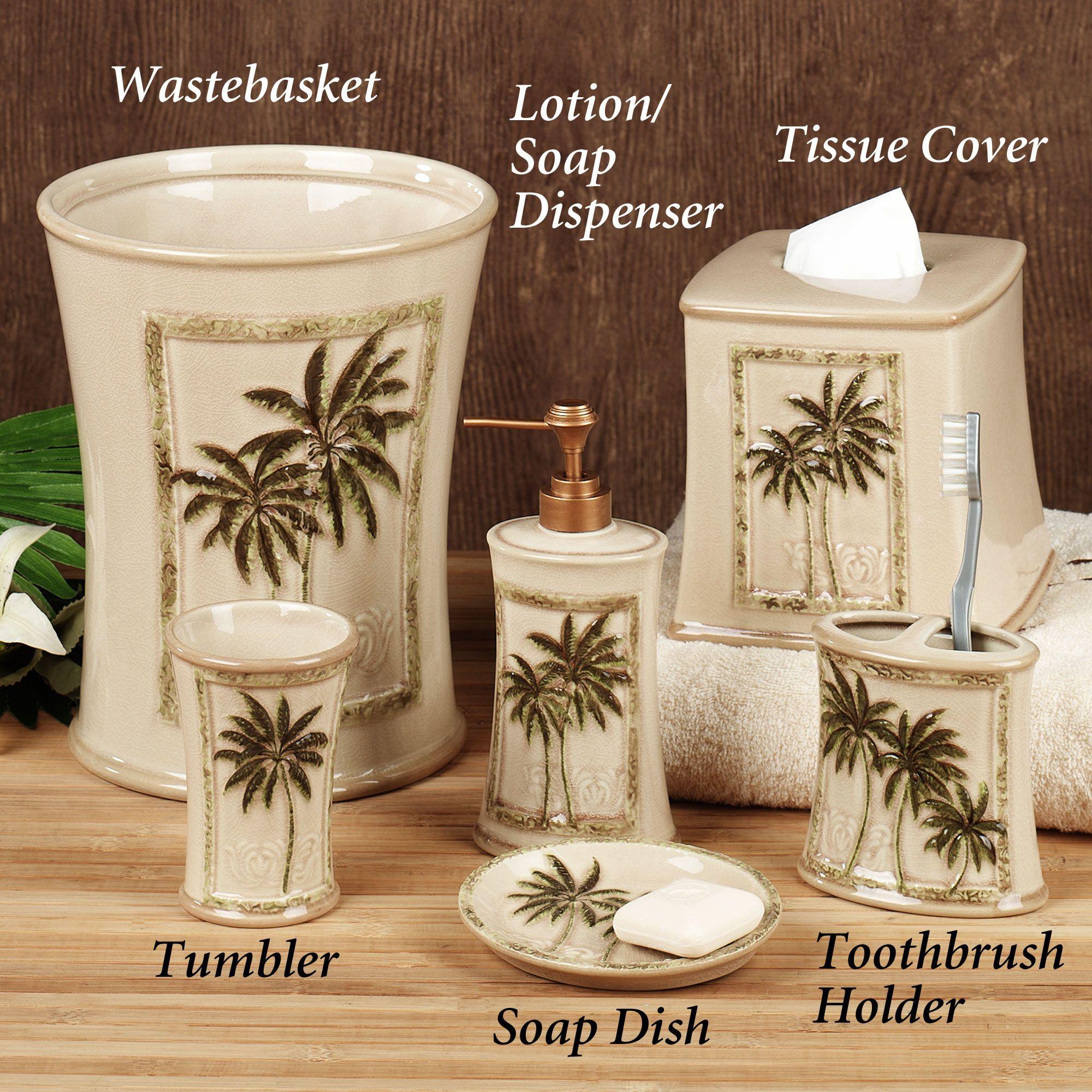 Paradise Palm Bath Accessories Palm Tree Bathroom