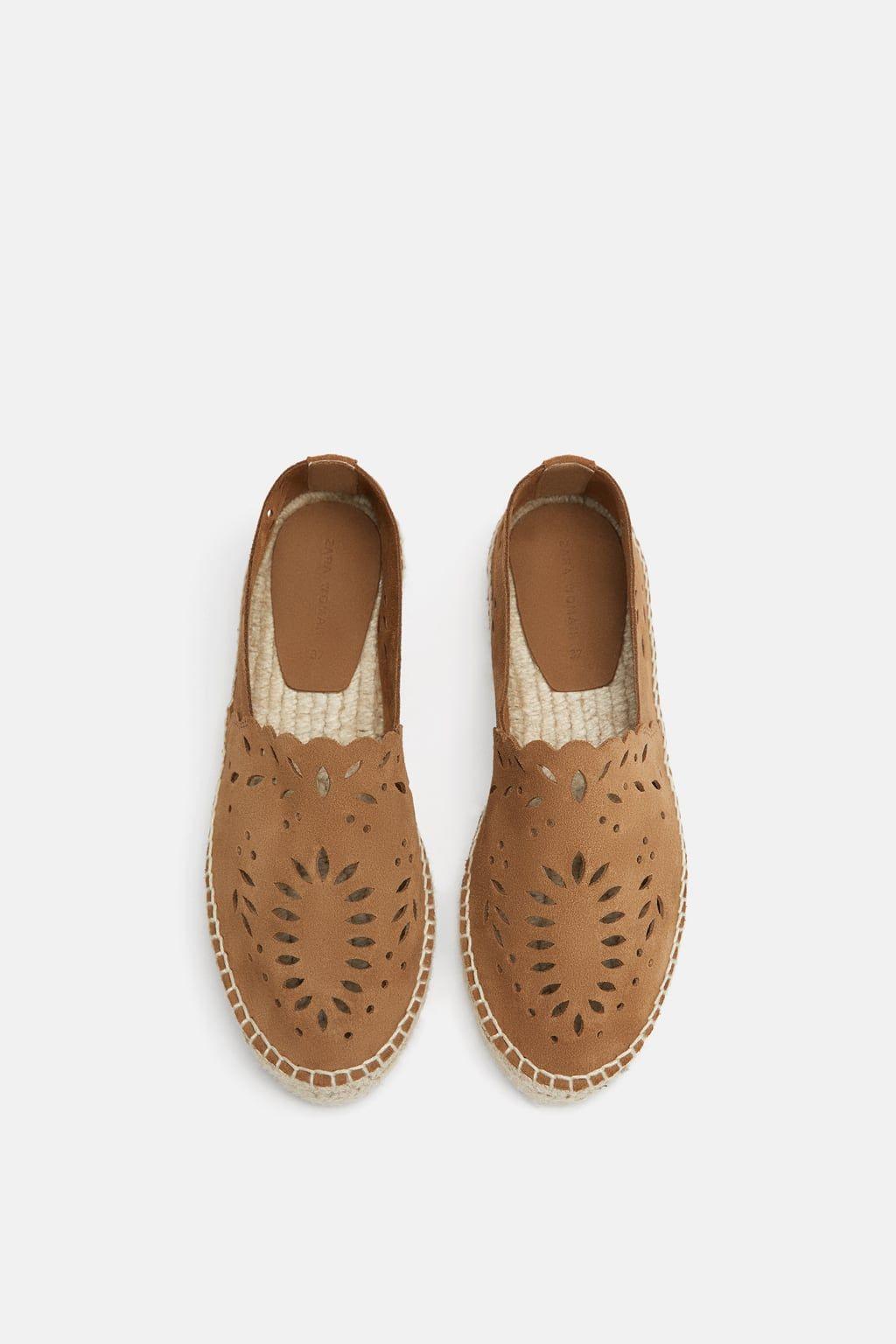 988b18561 ZARA - WOMAN - OPENWORK LEATHER ESPADRILLES Leather Espadrilles, Loafer  Flats, Leather Shoes,