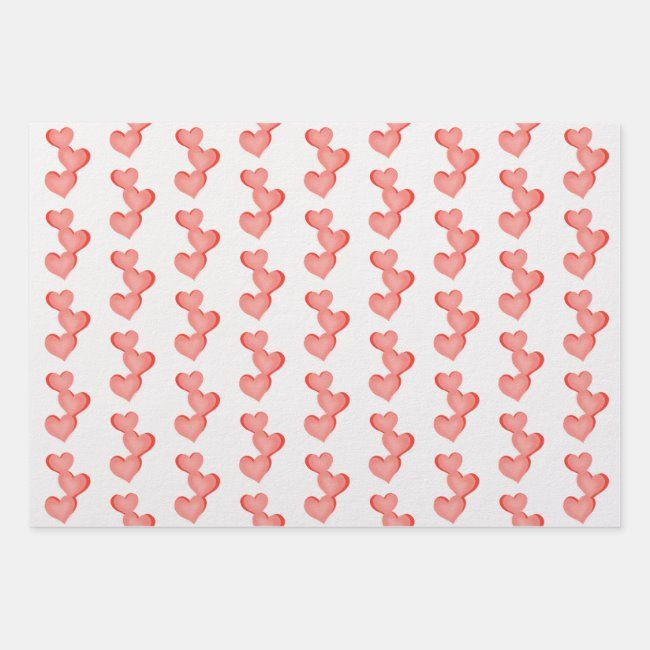 Valentine Hearts You are Loved text Wrapping Paper Sheets