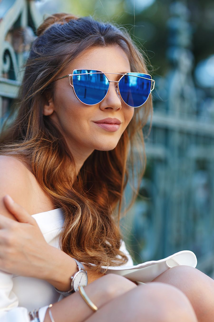 6482476d2c The Mysterious Girl  OVERSIZE THIN CROSS BROW MIRRORED FLAT LENS SUNGLASSES  A545