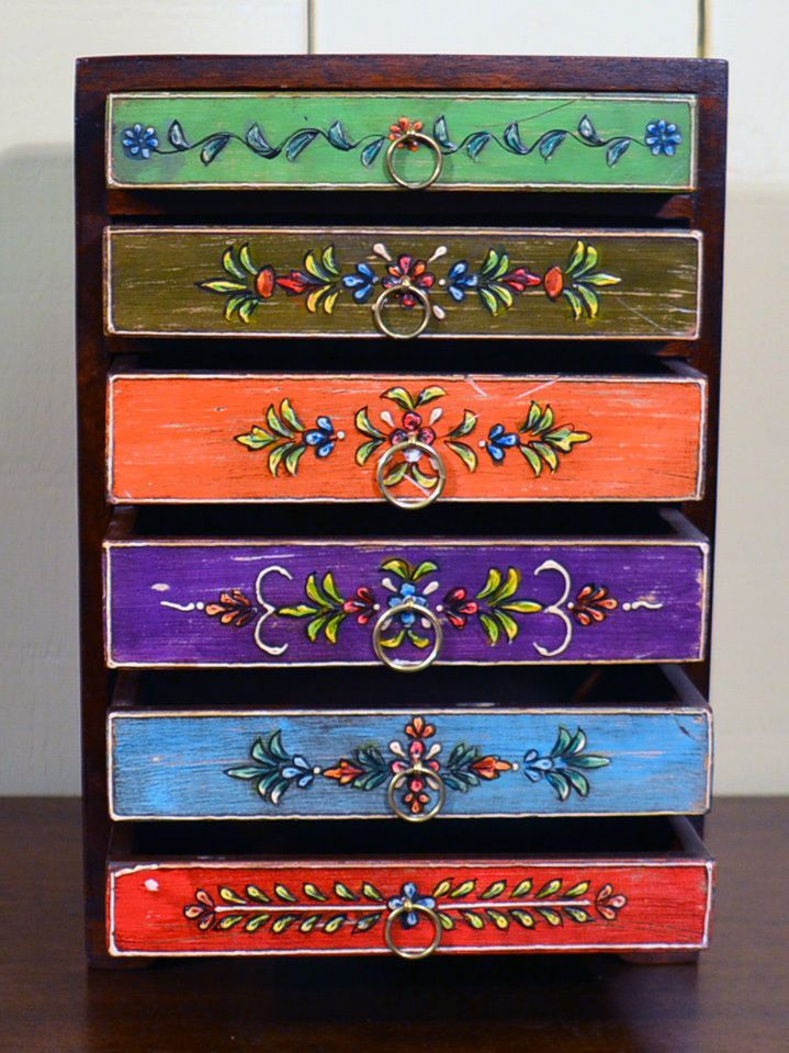 Hand Painted Six Drawer Chest Sourced In India Funky Painted