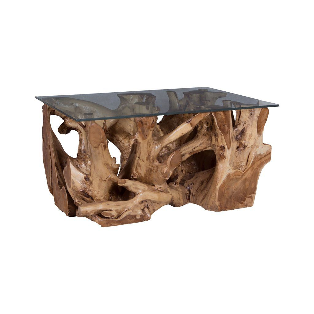 Guildmaster Teak Root Coffee Table With Glass Top (With ...