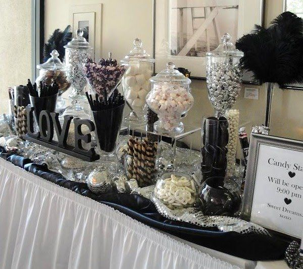 black and white candy station with maybe a touch of red thrown in like hot tamales red hots peppermints and red cherry licorice