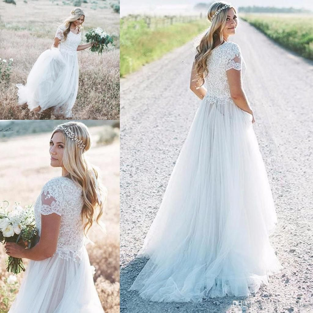 2019 Bohemian Country Wedding Dresses With Short Sleeves Fairy