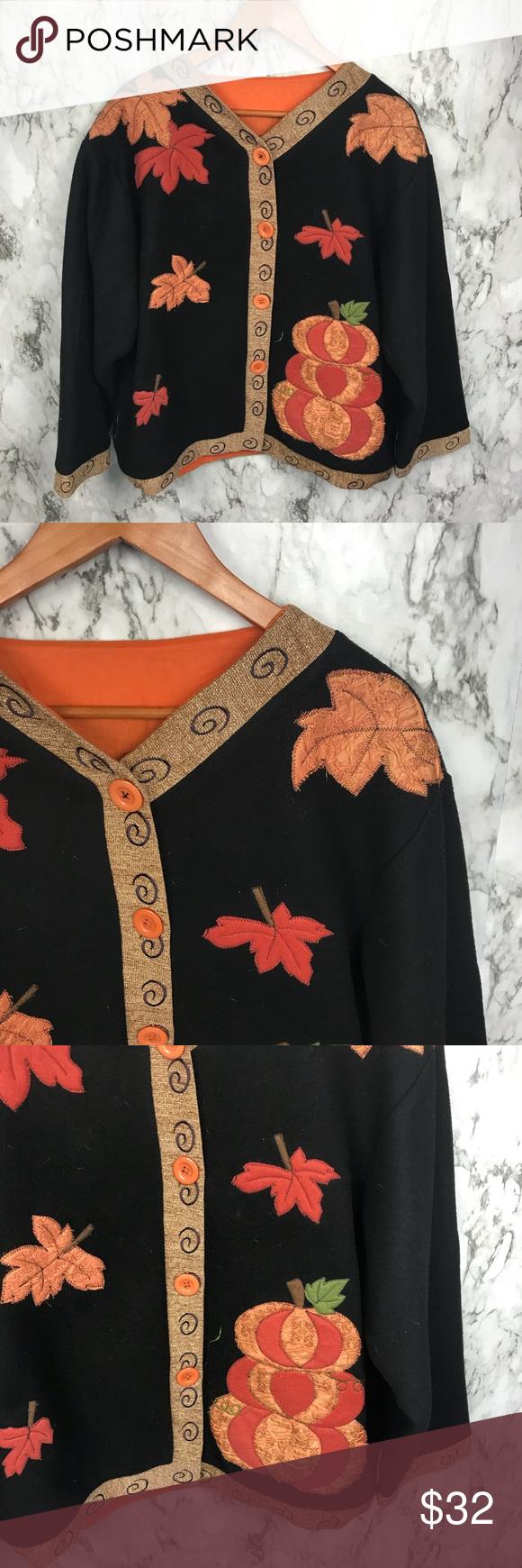 Vintage s fall halloween cardigan fleece sweater my posh picks
