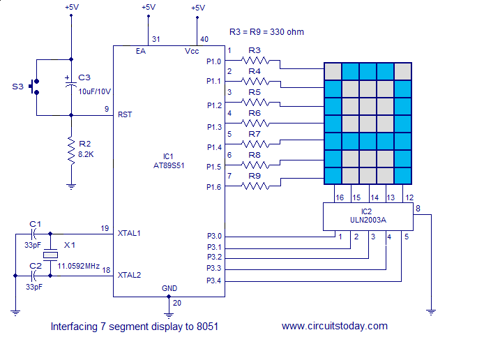 dot matrix led display circuit diagram 8%c3%9732 dot interfacing dot matrix led display to 8051 awesome micro on dot matrix led display circuit diagram
