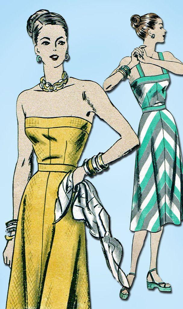 1940s Vintage Vogue Sewing Pattern 6078 Misses Strapless Sun Dress Size 12 30B