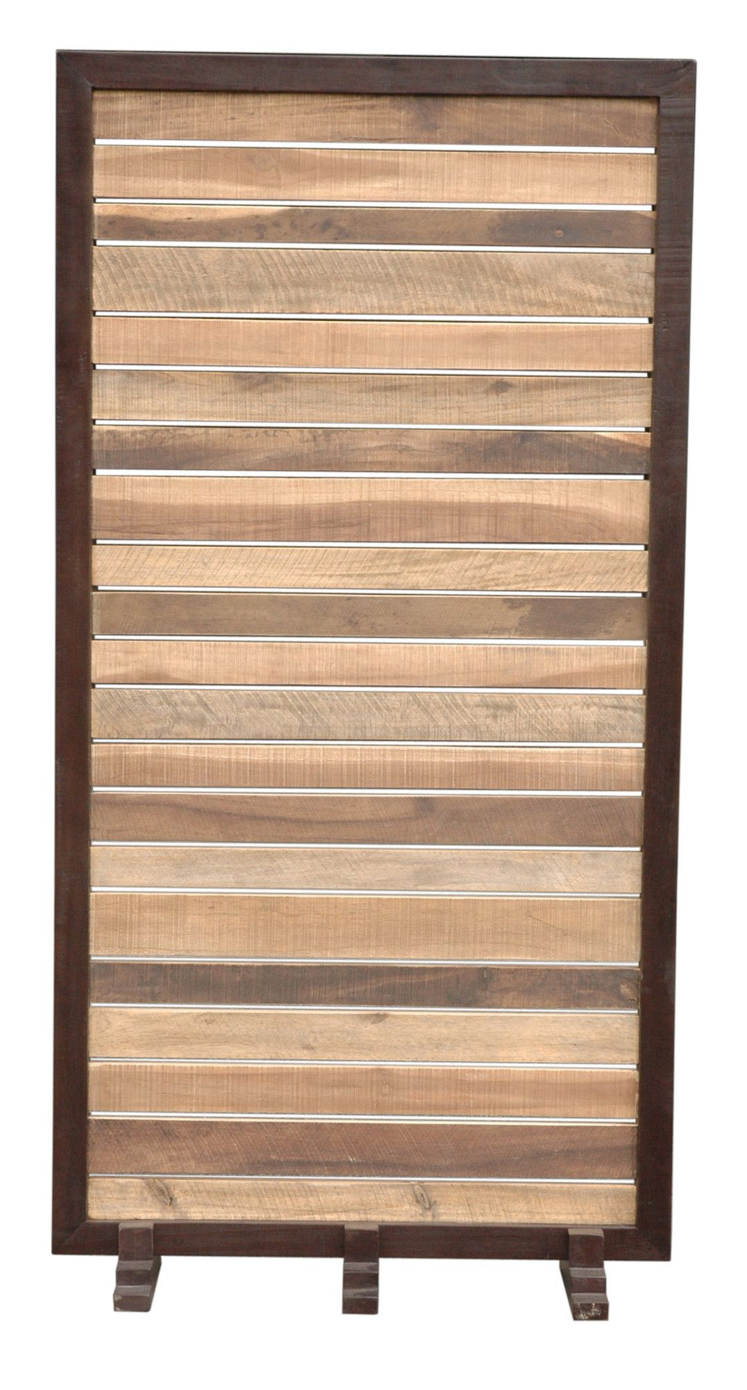 6 Ft Tall Solid Frame Fabric Room Divider 4 Panels: Features: -Material: Reclaimed Teakwood. -Wood Frame