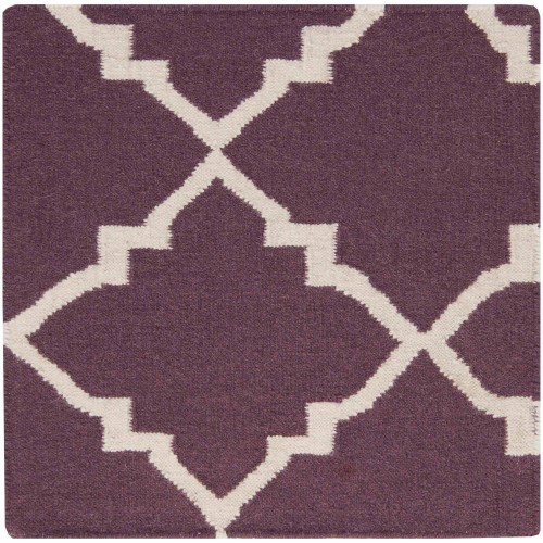 Art Of Knot Prichard Hand Woven Gate Scroll Flatweave Wool Area Rug Eggplant Purple Wool Area Rugs Art Of Knot Hand Weaving